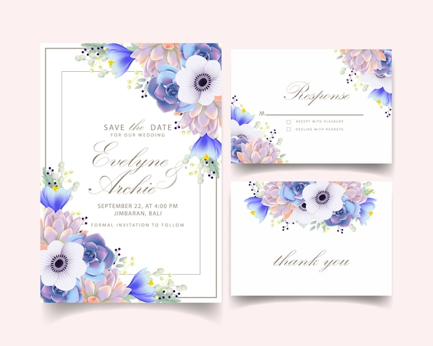 Floral wedding invitation with anemone flower and succulent Premium Vector