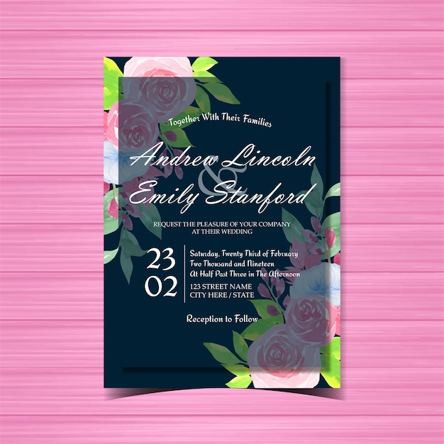 Floral wedding invitation with beautiful blue and pink roses Premium Vector
