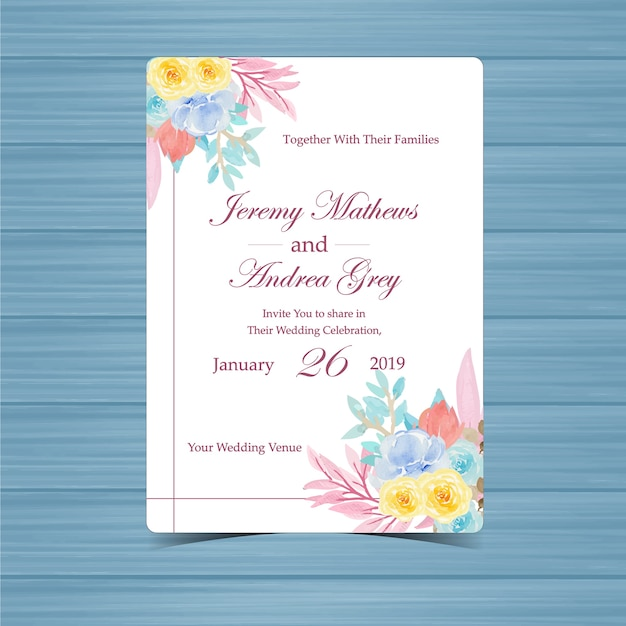 Floral wedding invitation with beautiful flowers Premium Vector