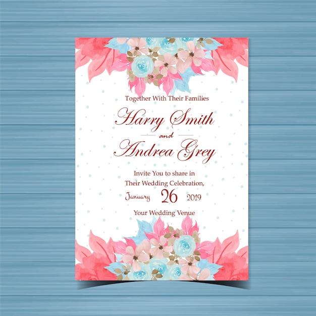 Цветочные приглашение на свадьбу с красивой ручной росписью голубые розы Premium векторы