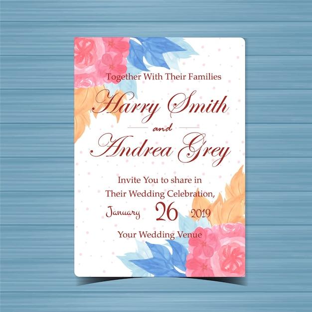 Цветочные приглашение на свадьбу с красивым розовым цветком Premium векторы