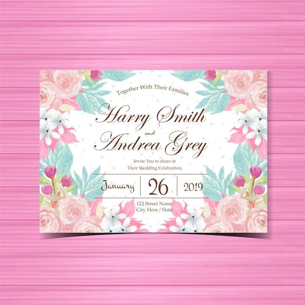 Цветочные приглашение на свадьбу с красивыми розовыми розами Premium векторы