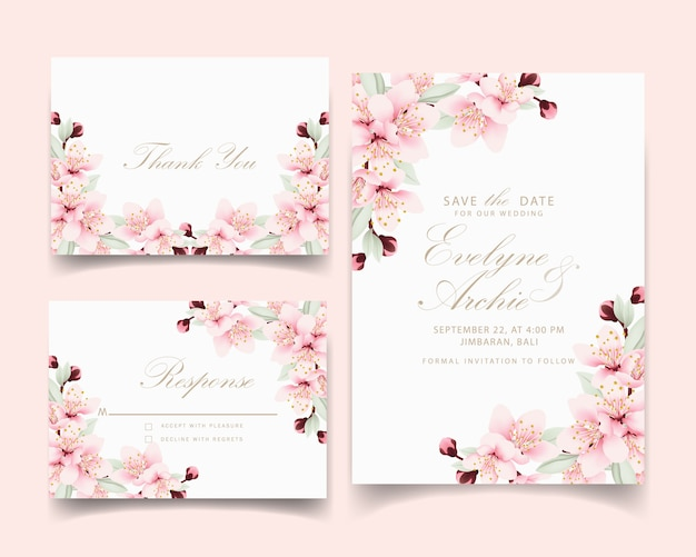 Floral wedding invitation with cherry blossoms Premium Vector
