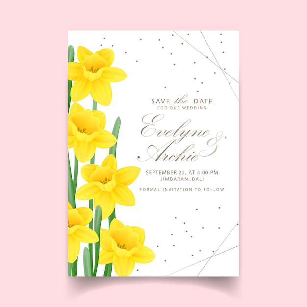 Floral wedding invitation with daffodils flower Premium Vector