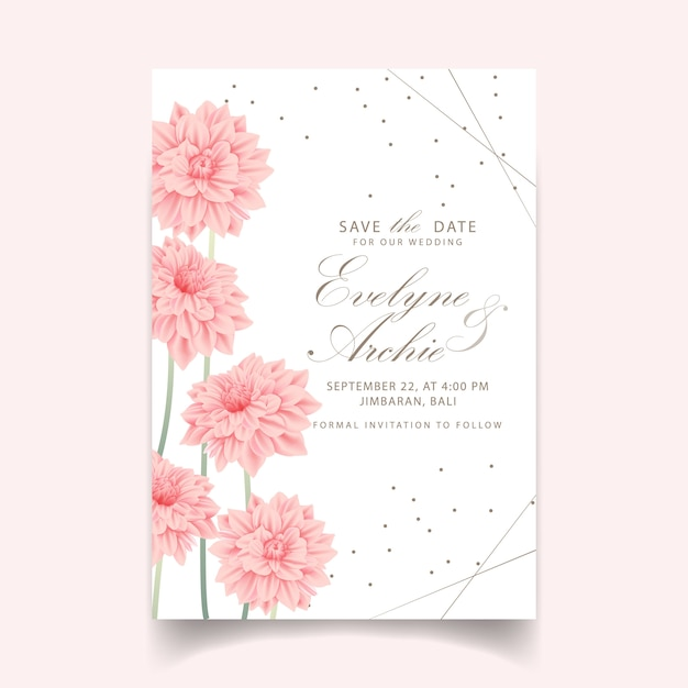 Floral wedding invitation with dahlia flower Premium Vector