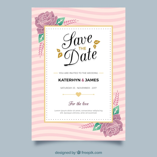 Floral wedding invitation with golden elements vector free download floral wedding invitation with golden elements free vector stopboris Choice Image