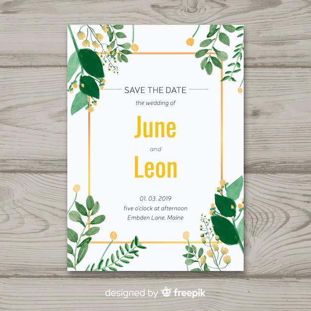 Floral wedding invitation with golden frame