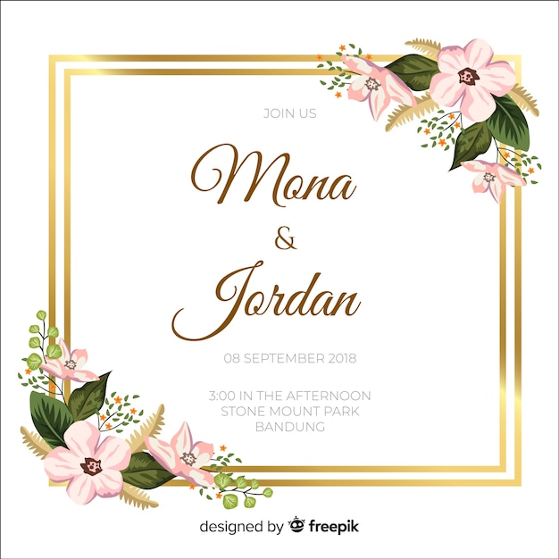 Floral wedding invitation with golden frame Free Vector
