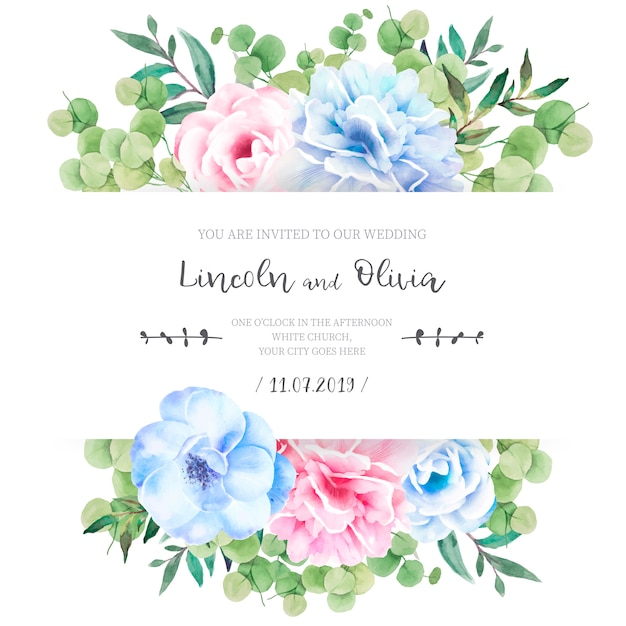 Floral wedding invitation with lovely flowers Free Vector