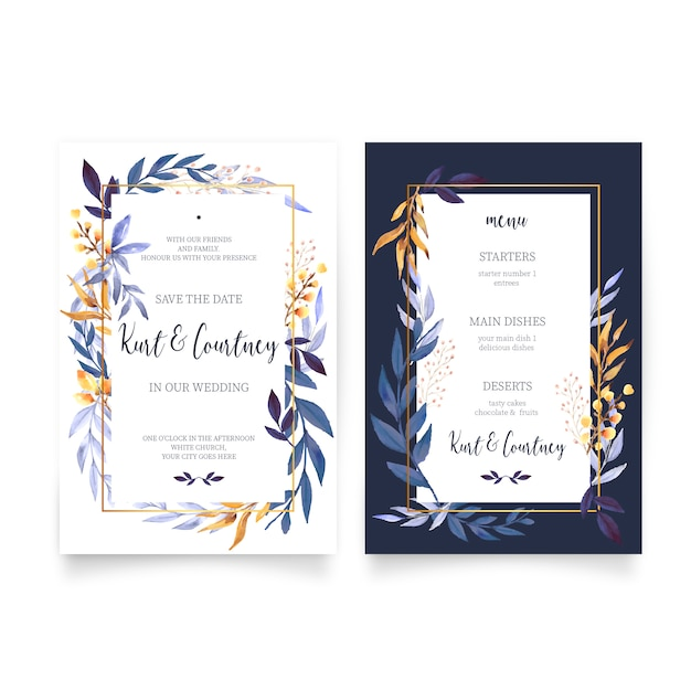 Floral Wedding Invitation with Menu Template Free Vector