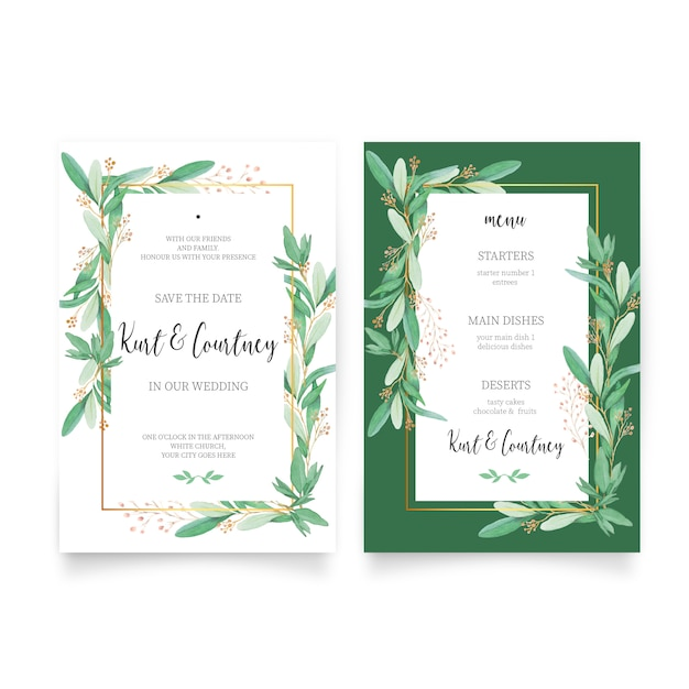 Floral Wedding Invitation With Menu Template Vector Free Download