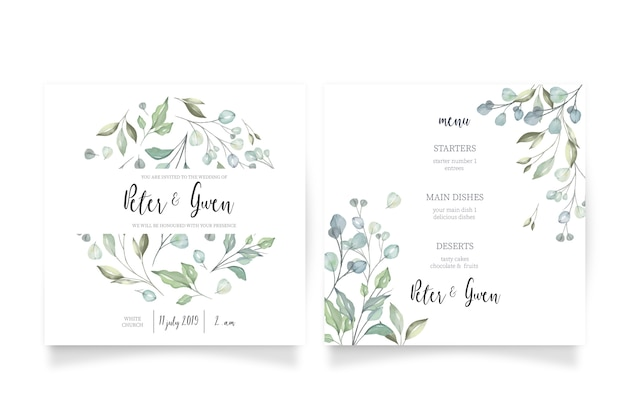 Floral wedding invitation with menu Free Vector