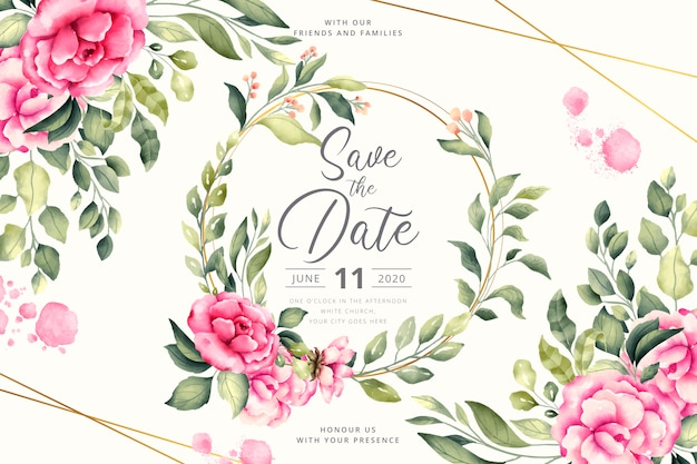 Floral wedding invitation with pink flowers Free Vector