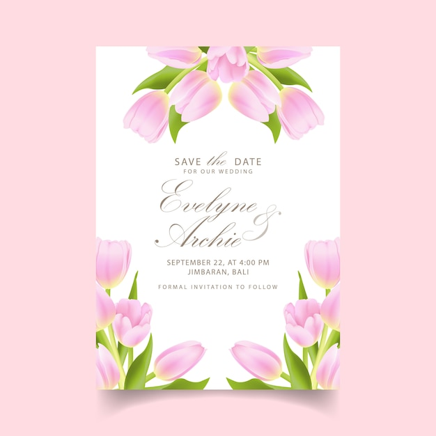 Floral wedding invitation with pink tulip flower Premium Vector