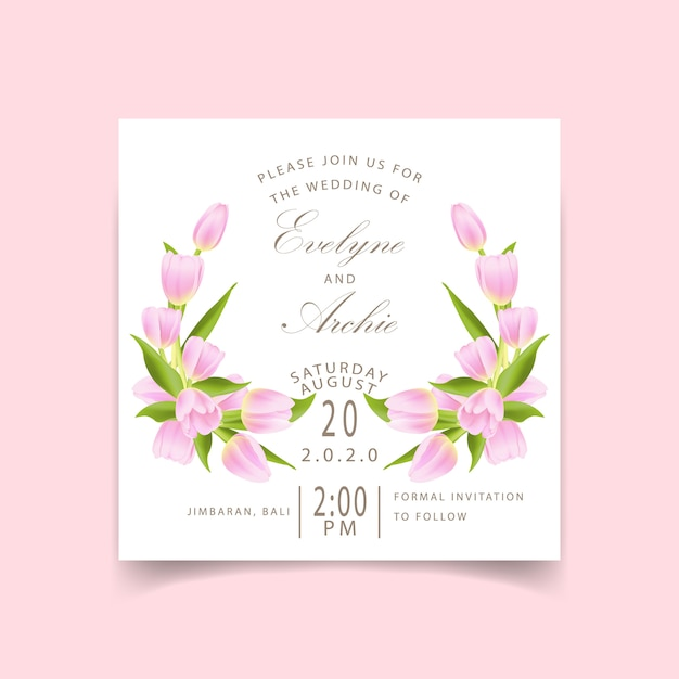 Floral wedding invitation with pink tulip flower Premium Vector