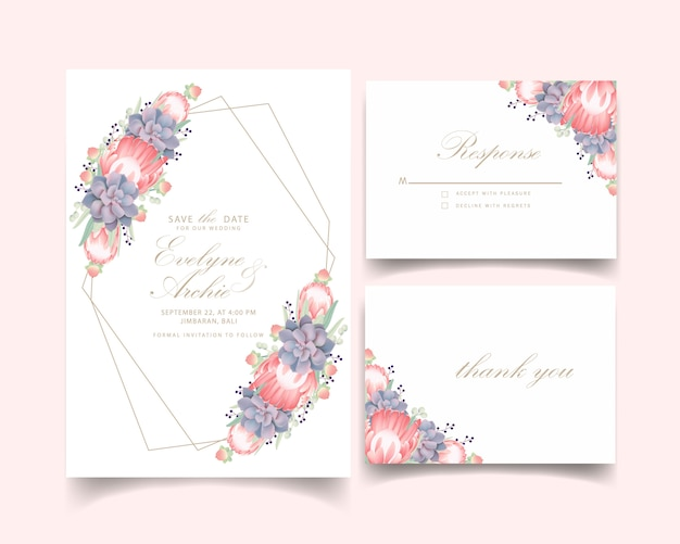Floral wedding invitation with protea flower and succulent Premium Vector