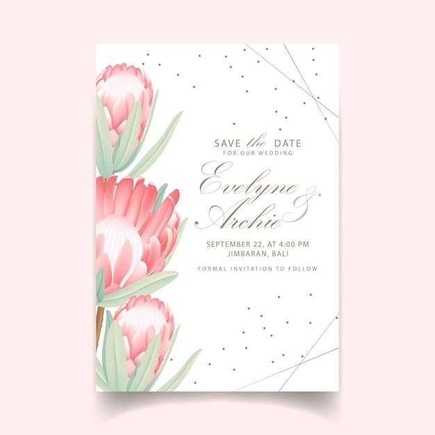 Floral wedding invitation with protea flower Premium Vector