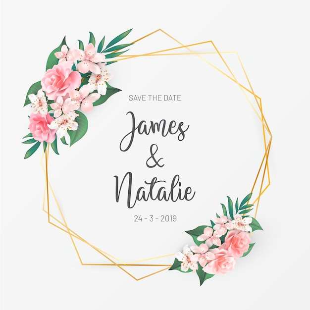 Floral wedding invitation with roses Free Vector