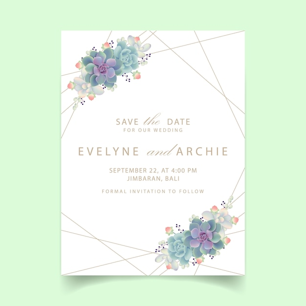 Floral wedding invitation with succulents Premium Vector