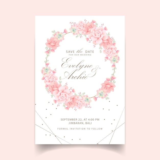Floral wedding invitation with succulents Premium Vector