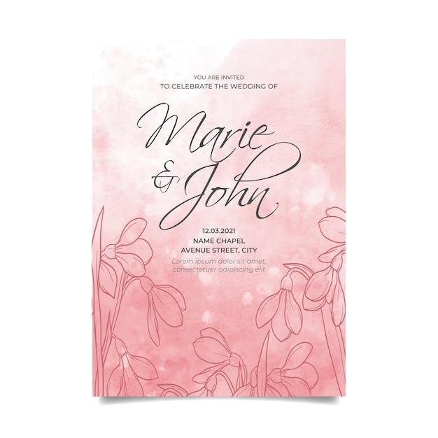 水彩画の背景と花の結婚式の招待状 無料ベクター