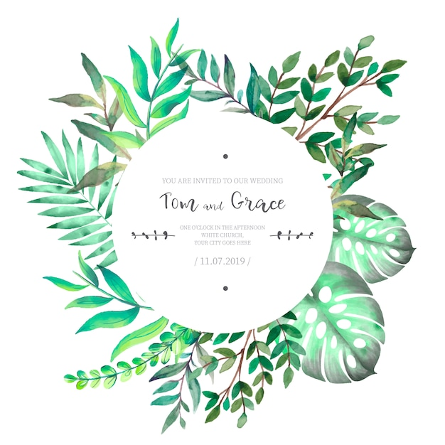 Floral Wedding Invitation with Watercolor Leaves Free Vector
