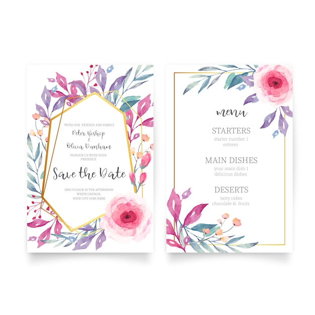 Floral wedding invitation with watercolor nature Free Vector