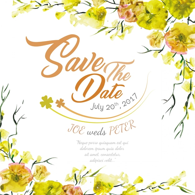 Floral wedding invitation with yellow watercolor Free Vector