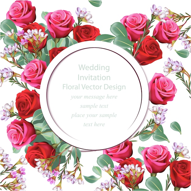 Floral wedding invitation vector free download floral wedding invitation free vector stopboris Image collections