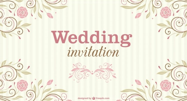 Floral Wedding Invitation Vector Free Download