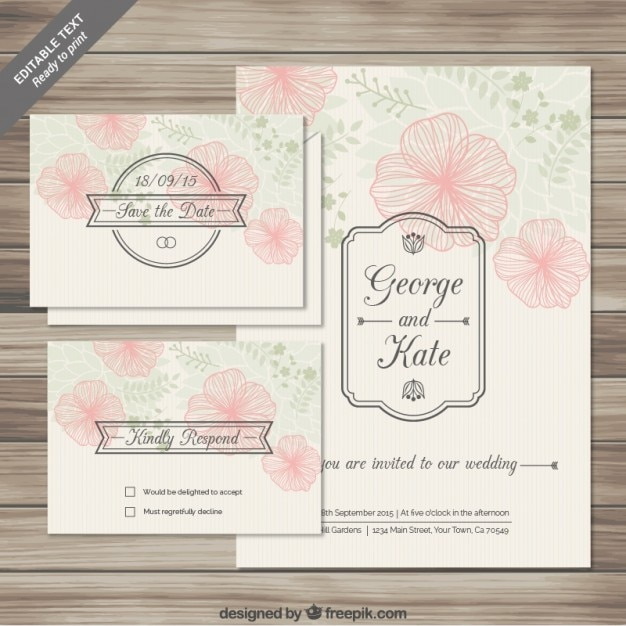 Floral wedding invitations cards in sketchy style Free Vector
