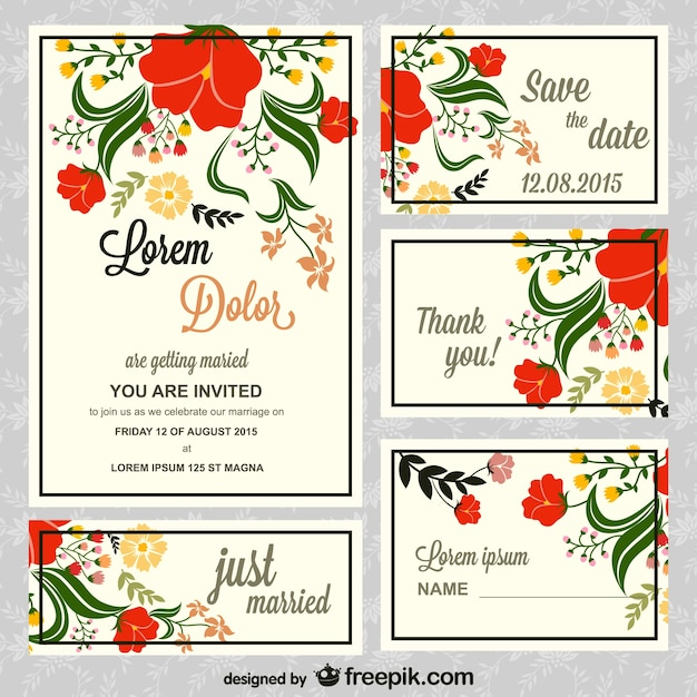 Floral wedding invitations pack Free Vector