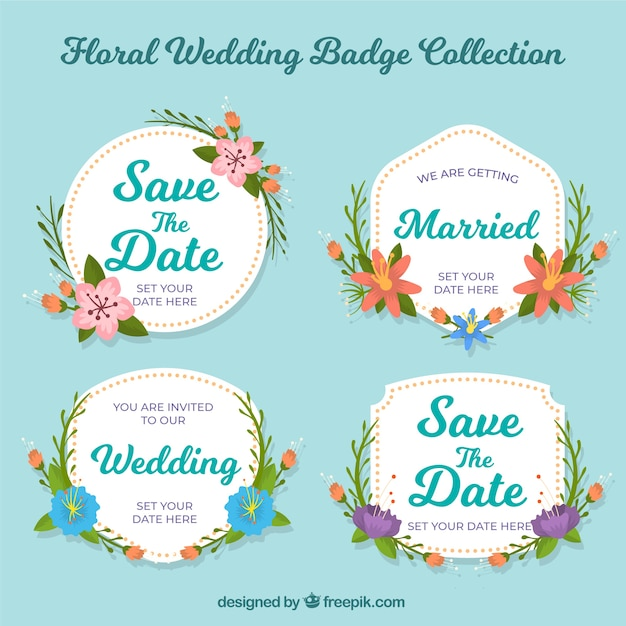 Floral wedding labels Free Vector