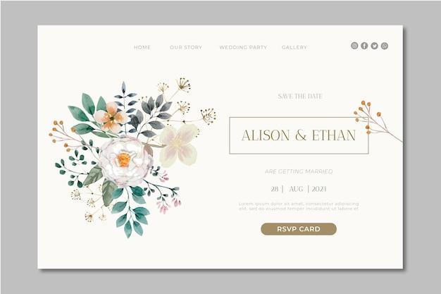 Floral wedding landing page design Free Vector