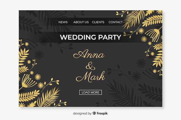 Floral wedding landing page template Free Vector