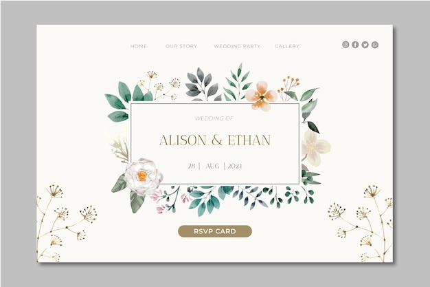 Floral wedding landing page Free Vector
