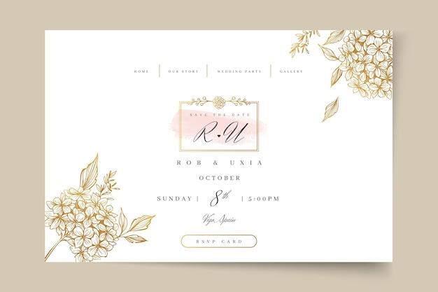 꽃 결혼식 방문 페이지 프리미엄 벡터