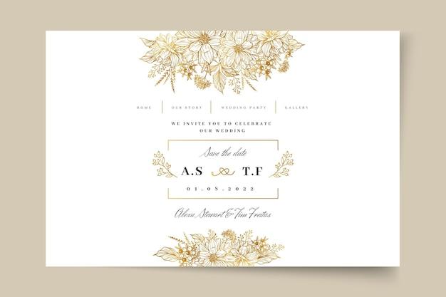Цветочная свадебная целевая страница Premium векторы