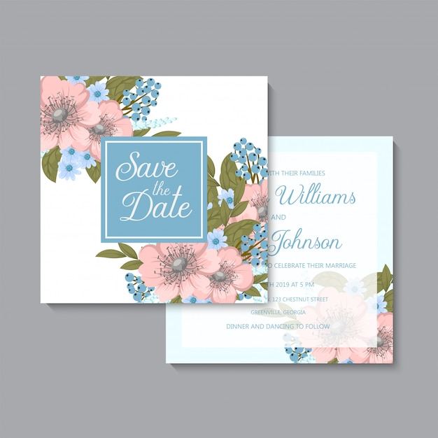 Floral wedding   light blue and pink floral Free Vector