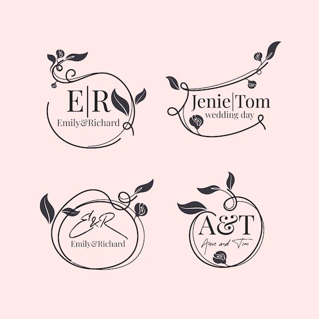 Bunga pernikahan logo Vektor Gratis
