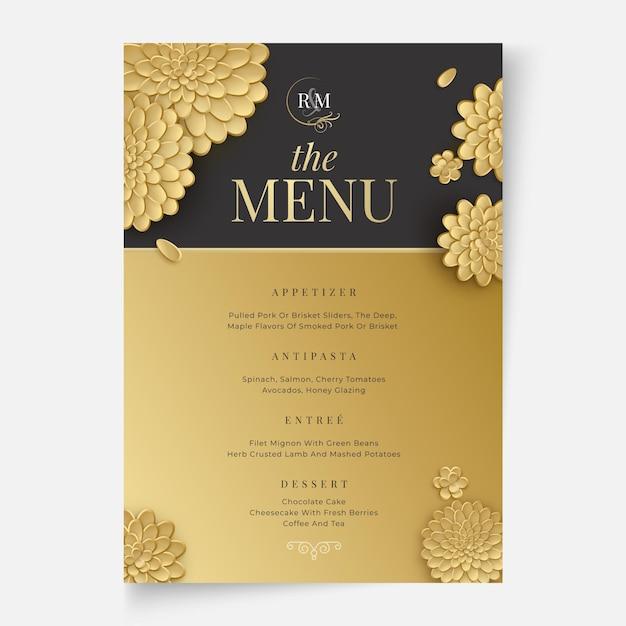 Concetto di menu matrimonio floreale Vettore gratuito