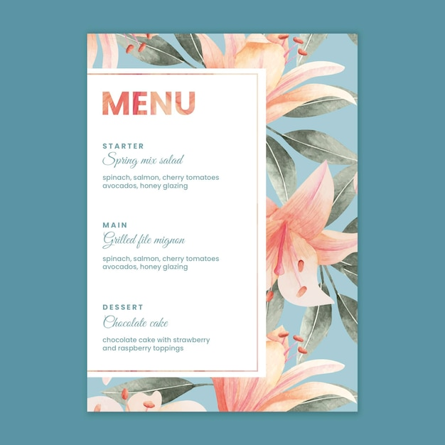 花の結婚式メニューテンプレート 無料ベクター