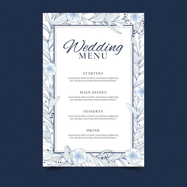 Floral wedding menu template Premium Vector