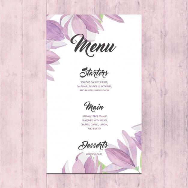 Floral wedding menu vector free download floral wedding menu free vector junglespirit Images