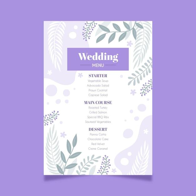 花の結婚式メニュー 無料ベクター