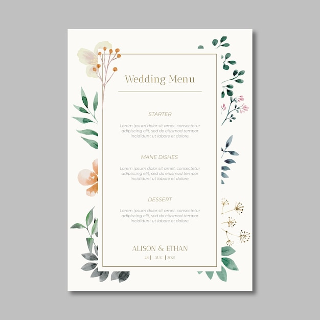 Floral wedding menu Free Vector