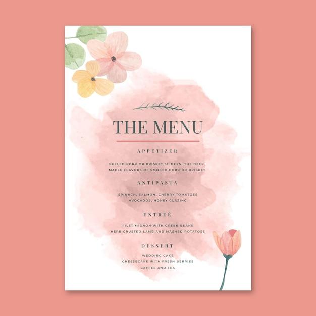 Цветочное свадебное меню Premium векторы