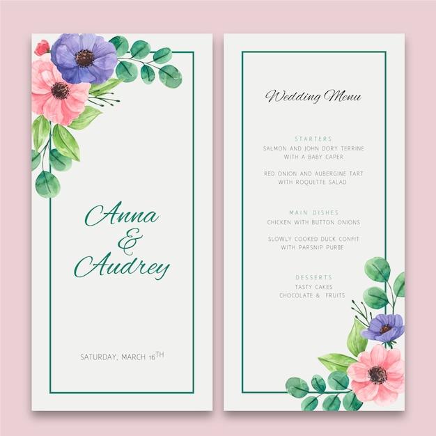 Menu di nozze floreale Vettore gratuito
