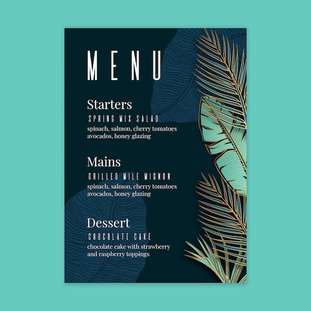 Цветочное свадебное меню Бесплатные векторы