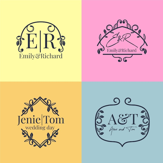 Floral wedding monograms pack Free Vector
